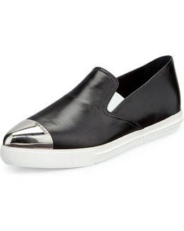 Cap-toe Leather Skate Sneakers