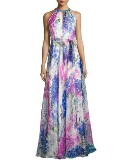 Sleeveless Abstract Floral Silk Gown