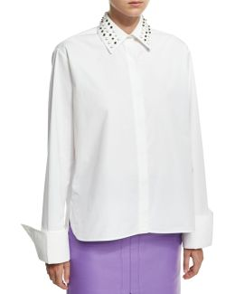Studded-collar Poplin Shirt