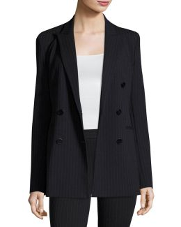Pinstripe Knit Double-breasted Power Jacket