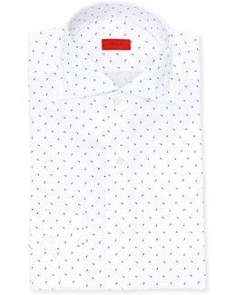 White W/ Blue Print Shirt