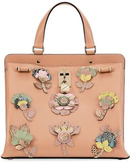 Joy Lock Medium Vitello Lux Satchel Bag