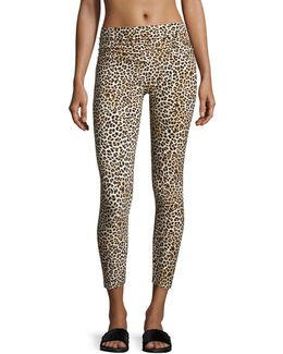 Cropped Leopard-print Leggings