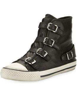 Virgin Leather Buckle High-top Sneaker