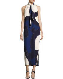 Sleeveless Tie-neck Halter Midi Dress