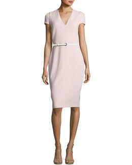 Short-sleeve V-neck Sheath Dress