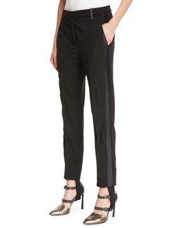Stretch-wool Stirrup Pants With Tuxedo Stripe