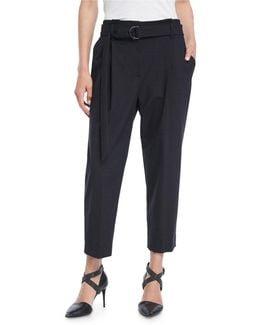 Cropped Pleat-front Pants W/belt