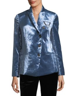 Asymmetric Button-front Velvet Jacket