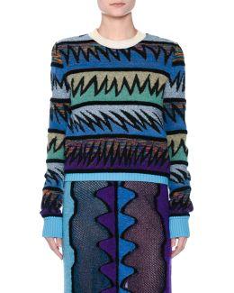Zigzag Knit Crewneck Sweater