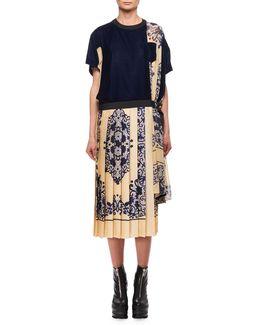 Bandana Velvet Combo Midi Dress