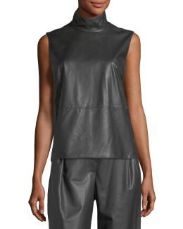 Sleeveless Mock-neck Leather-front Top