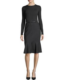 Belted Long-sleeve Ruffle-hem Dress