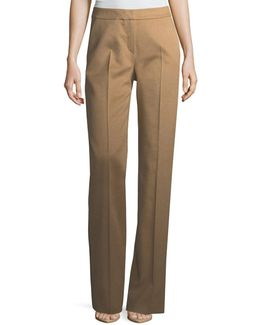 Camel Hair Straight-leg Pants