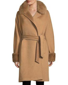Fur-trim Camel Hair Wrap Coat