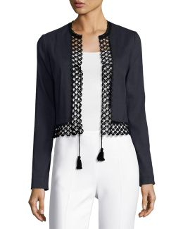 Britta Lace-trim Stretch-linen Cropped Jacket