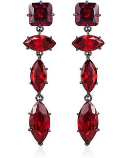 Jagged Edge Marquise Crystal Drop Earrings