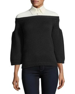 3/4-sleeve Knit Top W/polo Collar