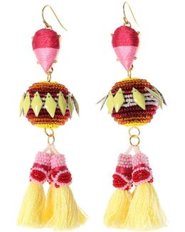 Rayna Beaded Tassel Drop Earrings