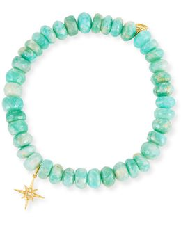 7mm Beaded Amazonite Bracelet With Diamond Starburst Charm