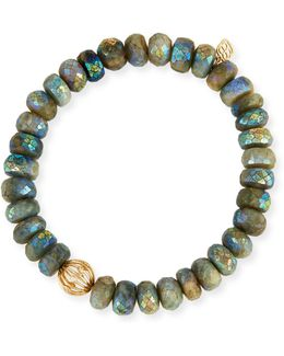 Mystic Dark Aqua Beaded Bracelet With Diamond Bezel Ball Charm