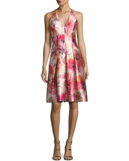 Sleeveless Floral Satin Twill Cocktail Dress