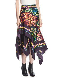 Layered Silk Twill Scarf Skirt
