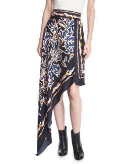 Asymmetric Silk Twill Scarf Skirt