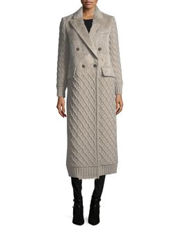 Cable-knit Double-breasted Duster Coat