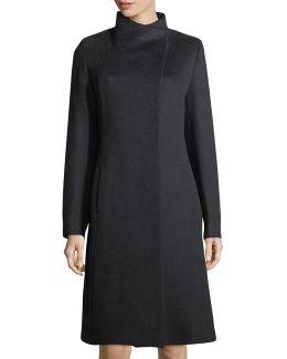 Asymmetric A-line Camel Hair Coat
