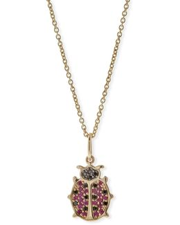 Anniversary Ladybug Necklace With Rubies & Black Diamonds