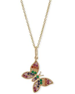 Anniversary Rainbow Butterfly Pendant Necklace