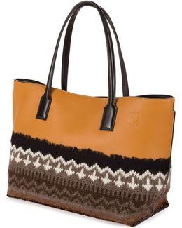 T Shopper Knit-trim Tote Bag