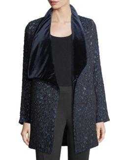 Christina Textured Velvet-collar Open Coat