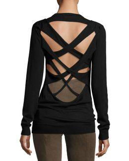 Liva Strappy-back Merino Wool Sweater