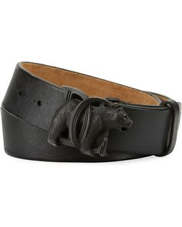Bear-buckle Leather Belt