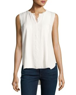 Amerie Sleeveless Lace-trim Silk Blouse