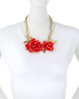 Golden Resin Flower Collar Necklace