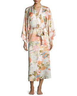 Yuzen Floral-print Long Wrap Robe