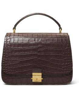 Mia Small Alligator Satchel Bag W/ Golden Hardware