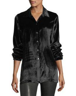 Nora Button-front Velvet Shirt