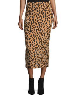 Leopard-print Tailored Midi Pencil Silk-blend Skirt