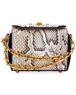 Box 16 Matte Rock Python Satchel Bag