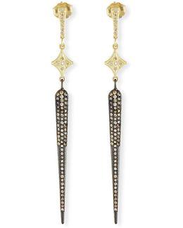 Old World Long Pavé Diamond Spike Earrings