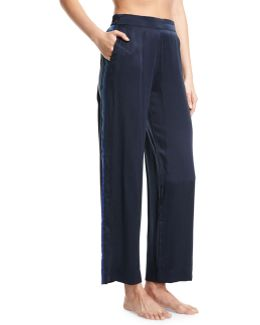 Midnight Stripe Silk-satin Pajama Pants