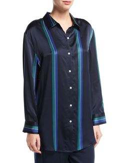 Midnight Stripe Silk-satin Pajama Top