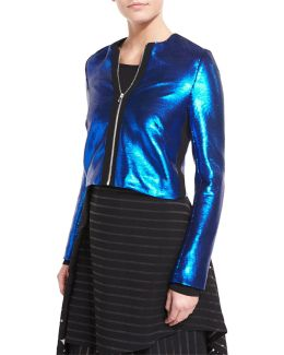 Long-sleeve Zip-front Metallic-sheen Jacket