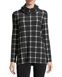 Oversized Plaid Long-sleeve Turtleneck Top