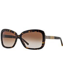 London Canvas Check Square 58mm Sunglasses