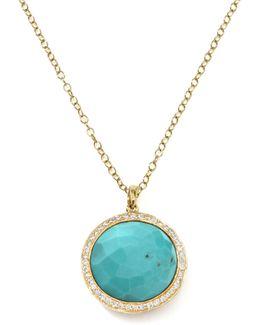 Gold Rock Candy Lollipop Diamond Turquoise Pendant Necklace